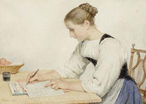1280px-Albert_Anker_Junge_Frau_einen_Brief_schreibend_1903
